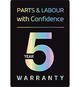 5 Year Warranty- Parts & Labour